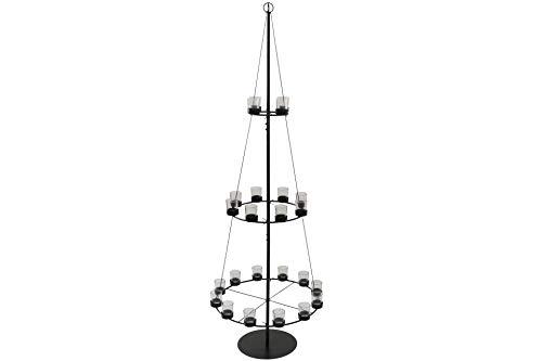 X-MAS Art Collection Design Baumpyramide Metall mit 24 Teelichtgläsern 165 cm H