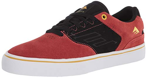 Emerica mens The Low Vulc Low Top Skate Shoe, Black/Orange/Yellow, 9.5 US