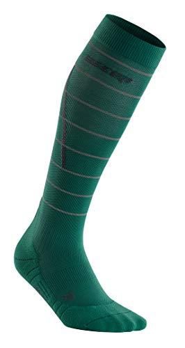 CEP – Reflective Compression Socks für Damen   Reflektierende Laufsocken in grün   Größe IV