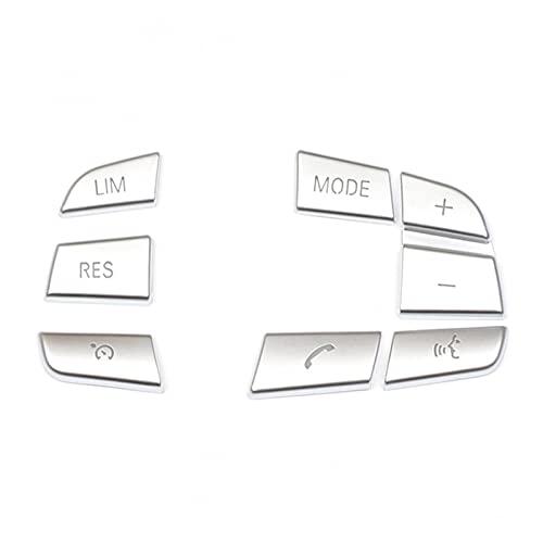 shiyi 7pcs Cartionería de dirección del automóvil Cubierta del Interruptor de la Cubierta Pegatinas de Ajuste Ajuste para 1 2 3 4 5 7 Serie GT3 GT5 X3 X5 X6 F10 F20 F30 E70 (Color Name : Silver)
