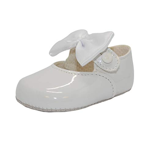 Baby Girls Pram Shoes, Bow Button Up Soft Sole, Made in Britain, White, UK 0