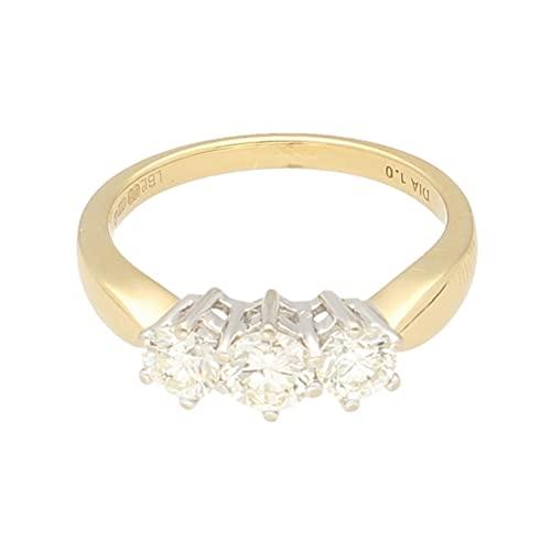 Anillo de mujer de oro amarillo de 18 quilates con diamante de 1 quilate (talla O) 13 x 5 mm | Anillo de lujo para mujer