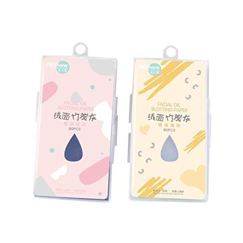 Frcolor 2 Boxen natürliche Bambuskohle Gesicht Blotting Papier Premium Gesichtsöl Blotting Paper für Männer Frauen (Farbe zufällig)