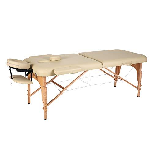 Naipo Lettino Massaggio Professionale Lettino per Massaggi Pieghevole 2 Zone Facile da Installare con Struttura in Legno Faggio Tedesco, Custodia per Trasporto, Poggiatesta e Bracciolo Beige(13Kg)