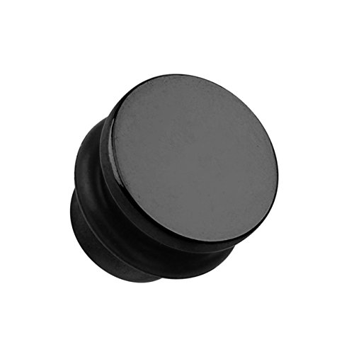 beyoutifulthings Ohr-Plug Flat TOP Ohr-Piercing Ohr-Schmuck Chirurgenstahl Tunnel Sattel-Verschluss Single Flair Schwarz 1,6mm
