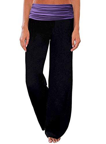 Women's Comfy Lounge Pants Stretch Wide Leg Palazzo Pants Floral Print Fold Waist Casual Yoga Pajama Pants