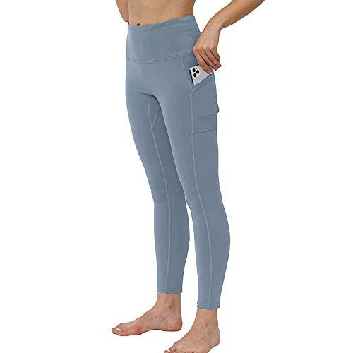 YRxUIAI Mallas deportivas con bolsillos para mujer, cintura alta, para yoga, Push Up Pants, pantalones de compresión, elásticos, para entrenamiento, gimnasio, fitness, running, color liso turquesa M
