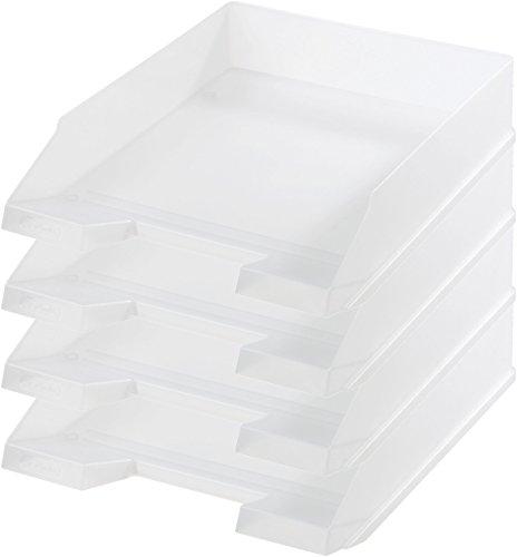 Herlitz Ablagekorb/Briefkorb/Briefablage für A4-C4, Pastell, stapelbar (4er Set in weiß)