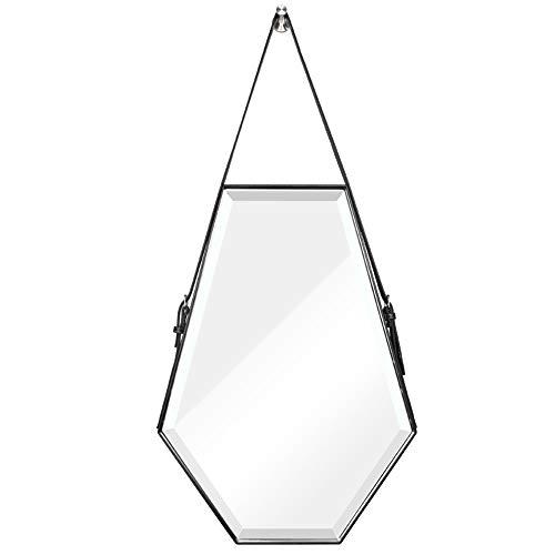 Bathroom Mirror LDFZ badkamerspiegel, decoratieve buitenspiegel, HD-antideflent, leer, verstelbare riem