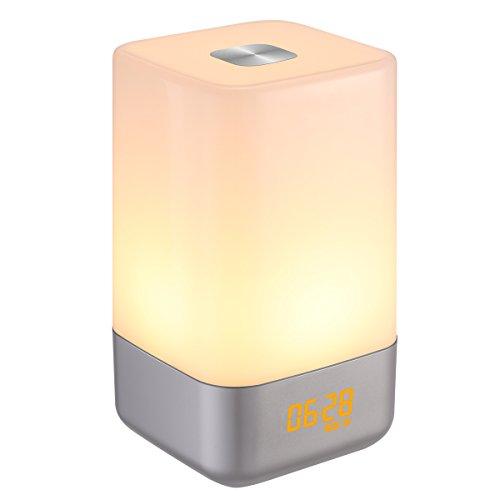 AMIR Wake Up Light, Wiederaufladbare Lichtwecker mit Sonnenaufgangs Simulation, Touch Control Farbwechsel LED Wecker, 5 Naturklänge, 256 RGB LED Nachtlicht, 4 Levels Dimmable Stimmungslicht