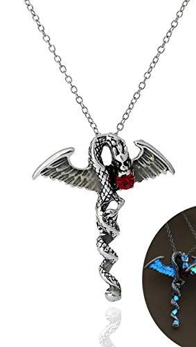 Halskette Drache und Rubinstein, phosphoreszierende Halskette, Drachenfigur, Drachenfigur (Farbe Silber und Gold – Glow in The Dark) Organza-Beutel