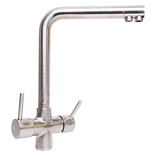 Quadro Florenz - Grifo de cocina con filtro de agua de 3 vías, cromado