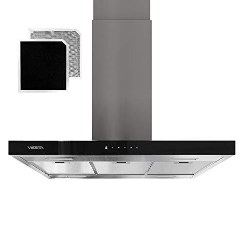 VIESTA VDI90230EG Dunstabzugshaube für Insel - Abzugshaube 90cm aus Edelstahl - Stilvoller Dunstabzug mit Touchpad und LED-Beleuchtung - Inselhaube als Abluft- und Umlufthaube - Energieklasse A