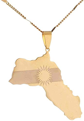 ZGYFJCH Co.,ltd Collar con Colgante de Mapa de Kurdistán de Acero Inoxidable, Colgante de Mapa de Bandera kurda, joyería de Koerdistan
