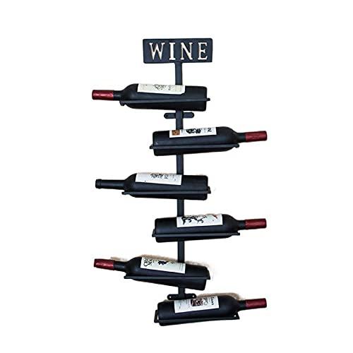 MCKEYEN Estante para Vino montado en la Pared de Metal, Estante de Pared para Vino para Botellas de Vino, Estante para Vino, Organizador de estantes con 6 Botellas