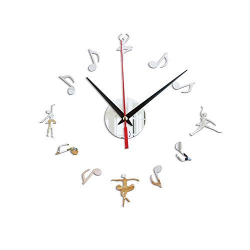 Music Studio Wall Sign Clock Note musicali Orologio da parete Chiave di violino Musica Wall Art Orologio decorativo Regalo per musicisti o cantanti-Grigio chiaro