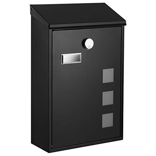 SONGMICS Briefkasten, Wandbriefkasten mit Sichtfenster, Namensschild-Halter, Schloss mit Kupfer-Schließzylinder , abschließbar, einfache Montage, schwarz GMB031B02