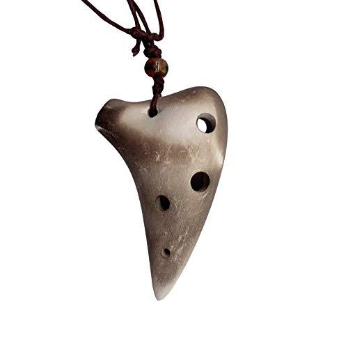 6 hoyos de cerámica Ocarina Alto C Instrumento musical de estilo submarino con puntaje musical Lanyard para amantes de la música y principiantes
