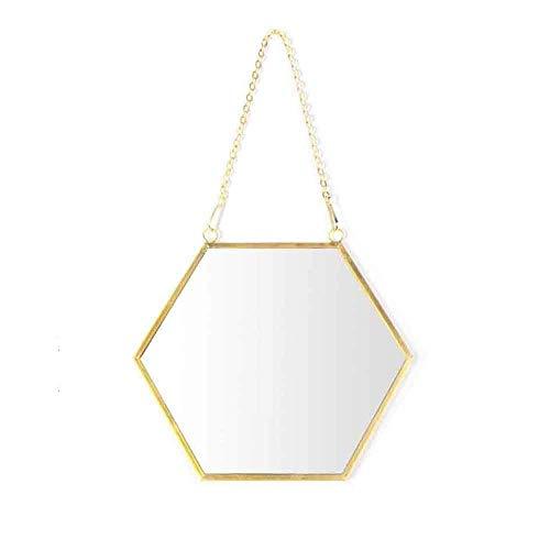 FACAIA Espejos de Pared Colgantes hexagonales Espejo Decorativo con Marco de Metal Dorado para la decoración de la Sala de Estar del Dormitorio del baño del hogar (Tamaño: A)