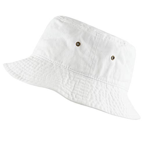The Hat Depot 300N Unisex 100% Cotton Packable Summer Travel Bucket Hat (L/XL, White)