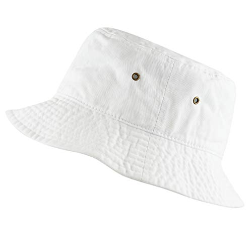 The Hat Depot 300N Unisex 100% Cotton Packable Summer Travel Bucket Hat (S/M, White)