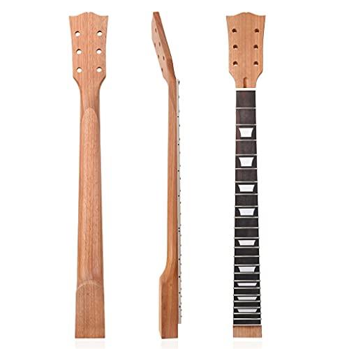 JIUYECAO 22 trastes para cuello de guitarra, 22 trastes de caoba y palisandro de palisandro de reemplazo de guitarra, cuello de guitarra eléctrica DIY para guitarras piezas de repuesto