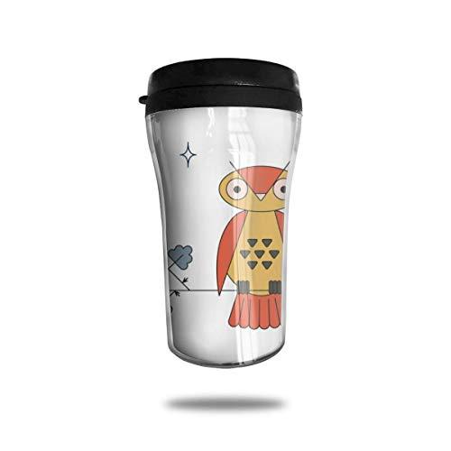 Taza de café de viaje con impresión 3D, taza de té, taza de agua aislada, taza de viaje para hombres, mujeres y niños, búho