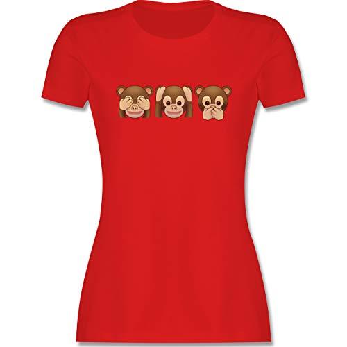 Comic Shirts - Äffchen Emoticon - M - Rot - AFFE Tshirt - L191 - Tailliertes Tshirt für Damen und Frauen T-Shirt