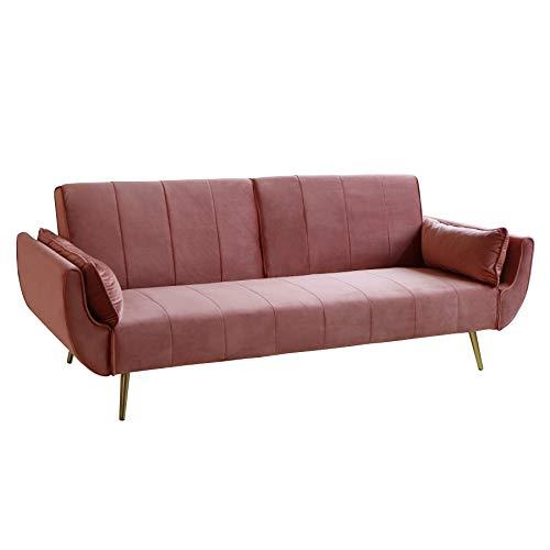 Invicta Interior Retro Schlafsofa DIVANI 215cm Altrosa Samt goldene Füße Bettfunktion 3er Sofa Schlafcouch Schlaffunktion Couch