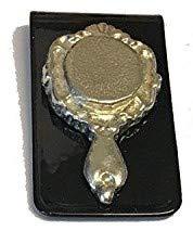 TG99 Handspiegel im Märchen-Stil, aus englischem Zinn auf einer atemberaubenden Geldklammer, Schwarz