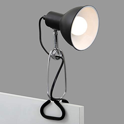 Briloner Leuchten - Klemmleuchte, Klemmlampe, 1x E14, max. 8 Watt, inkl. Kabelschalter, Spotkopf dreh- und schwenkbar, Metall, Schwarz-Chrom, 305x110x130mm