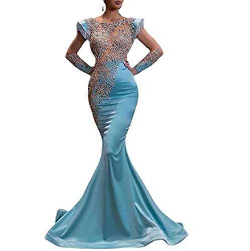 MAWEI Party-Kleid Damen Hellblau Meerjungfrau Rockbankett Lange Shajin-Serie war dünn und Temperament Jährliche Party Abendkleid...