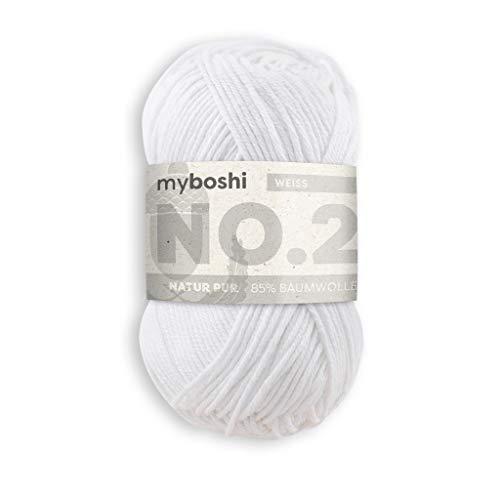 myboshi No.2 Wolle, 85% Baumwolle, 15% Kapok, Weiß, 50g, 100m, 1 Knäuel, Wolle zum Häkeln und Stricken, Babywolle, Ökotex, Wärmeregulierend, Vegan