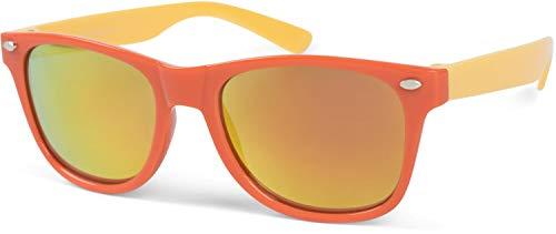 styleBREAKER Kinder Nerd Sonnenbrille mit Kunststoff Rahmen und Polycarbonat Gläsern, klassiches Retro Design 09020056, Farbe:Gestell Orange-Gelb/Glas Gelb verspiegelt