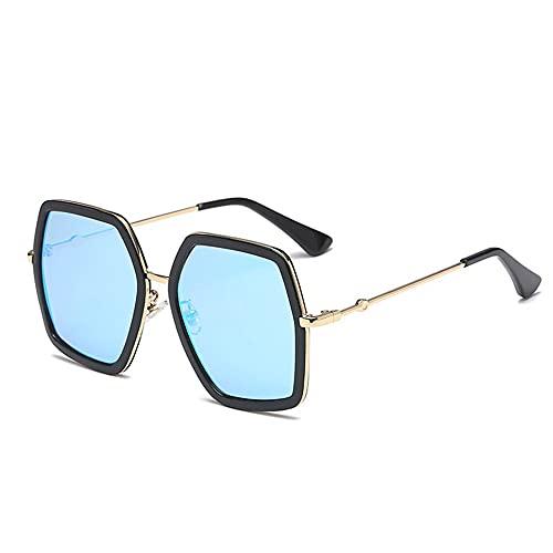 HAIGAFEW Gafas De Sol Cuadradas De Gran Tamaño Gafas De Sol Retro Negras para Mujer Gafas De Sol Proteger Los Ojos-Azul Negro