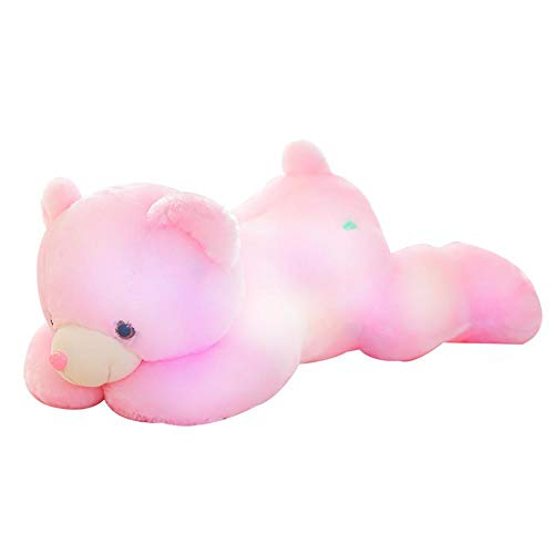 Sunronal Lindo suave mapache de peluche colorido luminoso inducción música muñeca almohada para dormir