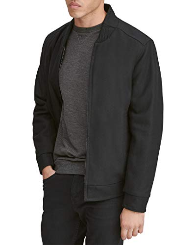 Marc New York by Andrew Marc Men's Barlow Melton Wool Bomber Jacket, Black, X-Large