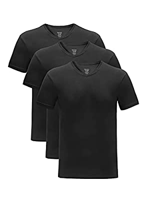 DAVID ARCHY Men's 3 Pack Bamboo Rayon Underwear Soft Comfy V-Neck Undershirts (L, Black)