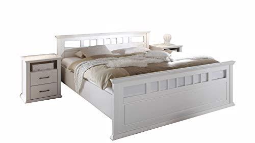 Möbel Akut Bettanlage Emma Doppelbett 180 x 200 Nachtkommoden Kiefer teilmassiv weiß Landhausstil