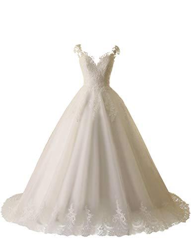 HUINI Brautkleider Hochzeitskleider Lang Spitze Meerjungfrau Schleppe Rückenfrei V-Ausschnitt Elegant Gürtel Elfenbein 38