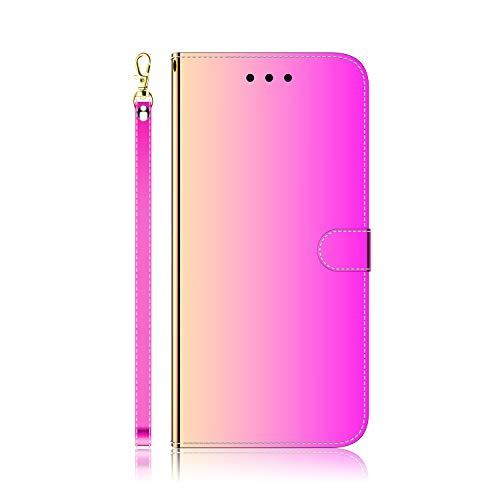 WIWJ Clear View Standing Cover für Xiaomi Redmi Note 7 / Note 7 Pro Spiegel Hülle Rosa - 360 Grad Full Schutz Handyhülle Ledertasche Note Case mit Kartenhalter Tragegurt Stoßfest Schutzhülle Tasche