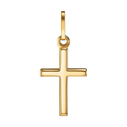 IDENTIM Kreuz Anhänger 333 Gold (OHNE Kette) Kreuzanhänger kleines Kreuz schlicht glänzend 8 Karat Goldkreuz Echtgold 94753