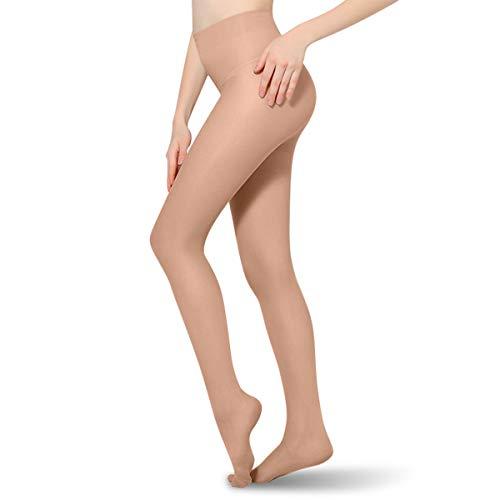 Medias de compresión 20-30 mmHg opacas de apoyo para mujeres y hombres con puntera cerrada para enfermería, medias de compresión graduadas que ayudan a aliviar la hinchazón de las venas varicosas Edema Beige M
