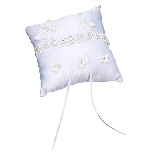 Surebuy Almohada de Anillo de Textura Suave, decoración de Boda, para Ceremonia de Boda para Accesorios Nupciales(Flower Basket + Ring Pillow)