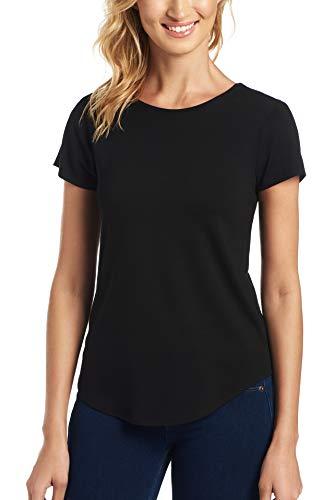 Cupio Favorite Basic - Juliana Crepe Solid Shirttail Hem Cap Sleeve Knit Top Black