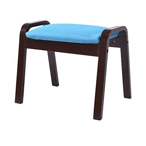 stool Sofá hogar de algodón y lino de tacón alto de nogal simple creativo dormitorio sala de estar banco sillas perezosas (color: azul)