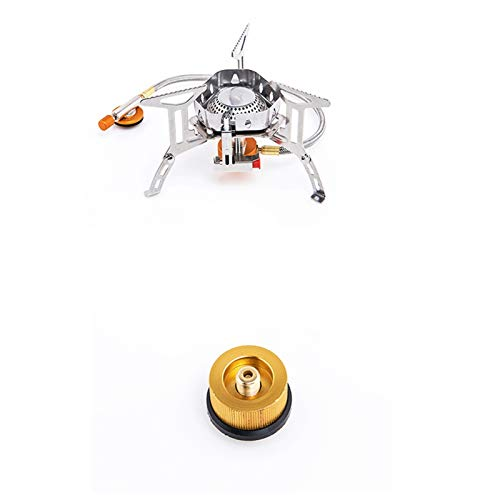 SZTUCCE Wind proof outdoor gas burner camping stove lighter tourist equipment kitchen cylinder propane grill (Color : Stove and Adaptor)