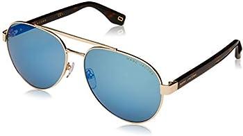 Marc Jacobs Green Blue Mirror Aviator 60mm Sunglasses
