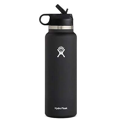Hydro Flask Wide Mouth 2.0 Water Bottle, Straw Lid - 32 oz, Black