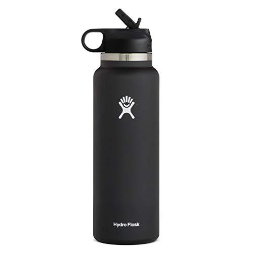 Hydro Flask Water Bottle - Wide Mouth Straw Lid 2.0 - 32 oz, Black